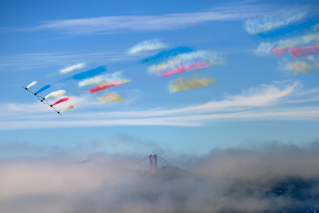 Patriot colors over Golden Gate Bridge