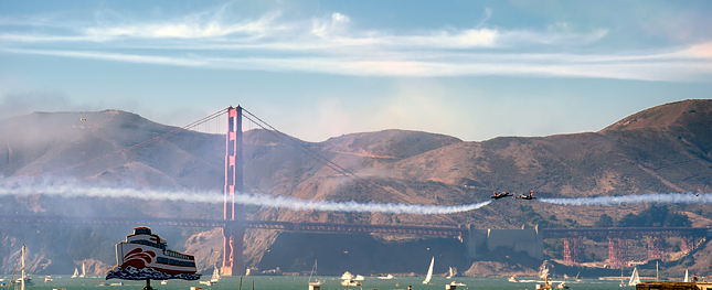 Patriot Jets playing chicken over San Francisco Bay